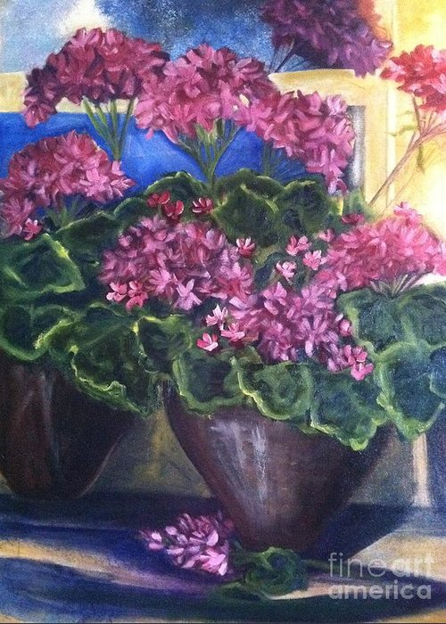 Orchards Greeting Card featuring the painting Geraniums Blooming by Sherry Harradence