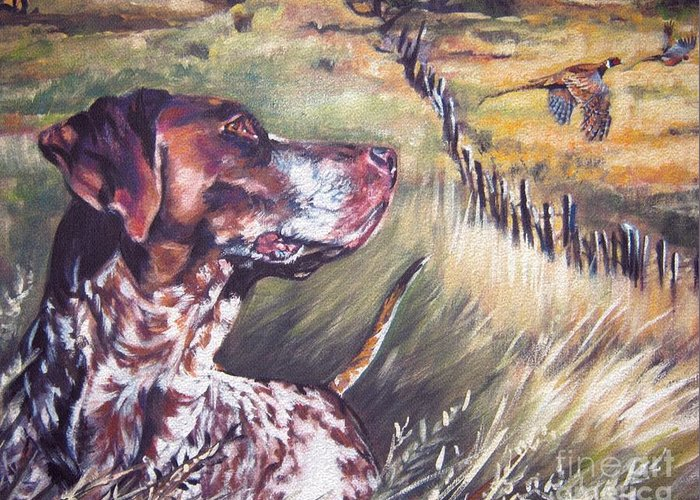 Dog Greeting Card featuring the painting German Shorthaired Pointer And Pheasants by Lee Ann Shepard