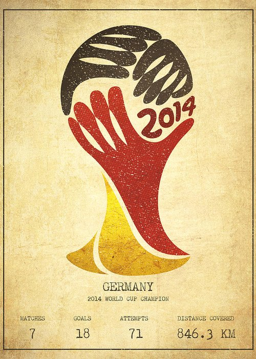 Soccer Greeting Card featuring the drawing Germany World Cup Champion by Aged Pixel