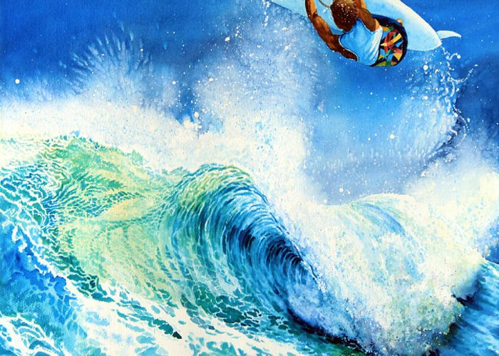 Sports Art Greeting Card featuring the painting Getting Air by Hanne Lore Koehler
