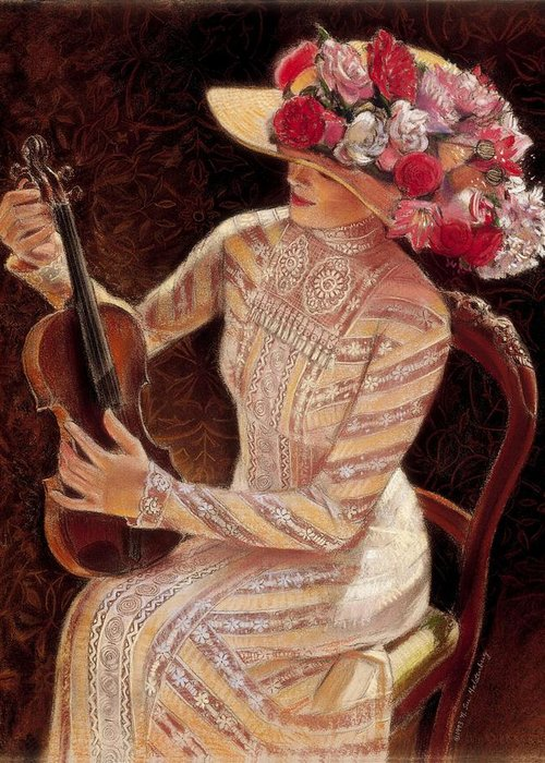 Vintage Greeting Card featuring the painting Getting In Tune by Sue Halstenberg