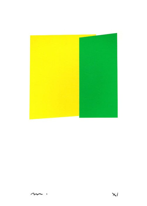 Abstract Greeting Card featuring the mixed media Giallo E Verde by Moran de Musee