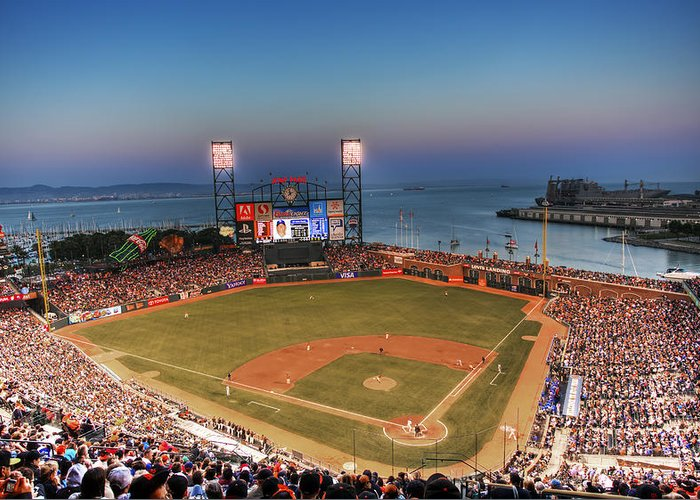 Giants Stadium Greeting Card featuring the photograph Giants Ballpark At Night by Shawn Everhart