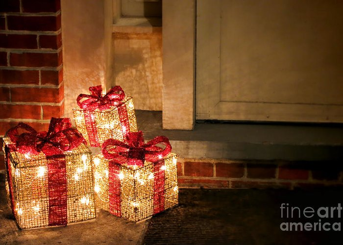 Christmas Greeting Card featuring the photograph Gift Of Lights by Olivier Le Queinec