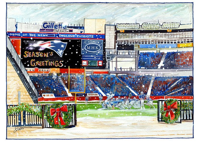 Gillette Stadium Greeting Card featuring the painting Gillette Holidays by Dave Olsen