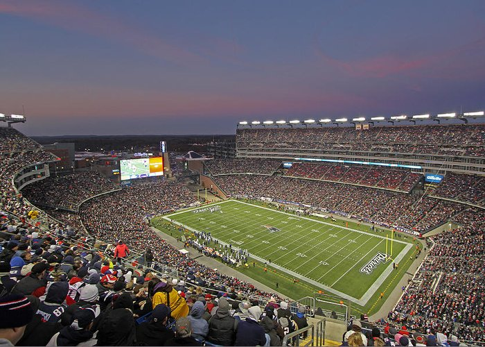 Patriots Greeting Card featuring the photograph Gillette Stadium And New England Patriots by Juergen Roth
