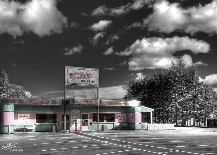 Retro Greeting Card featuring the photograph Gillis' Drive-in by Elisabeth Van Eyken