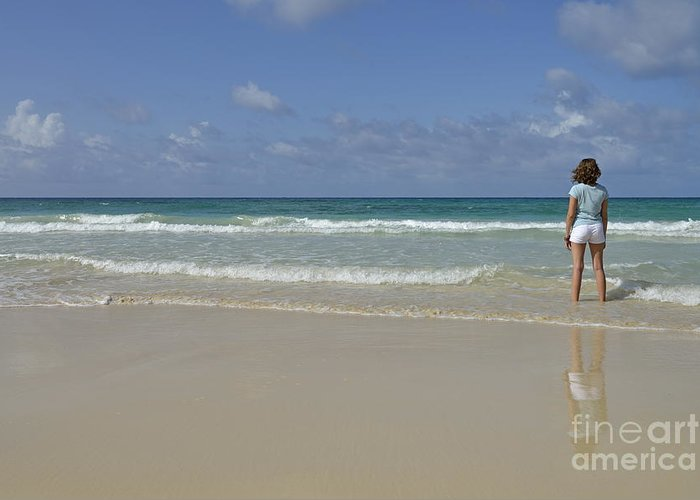 People Greeting Card featuring the photograph Girl Contemplating Ocean From Beach by Sami Sarkis
