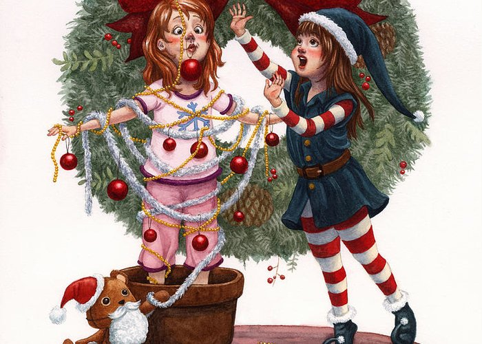 Girls Greeting Card featuring the painting Girls Decorating For Christmas by Isabella Kung