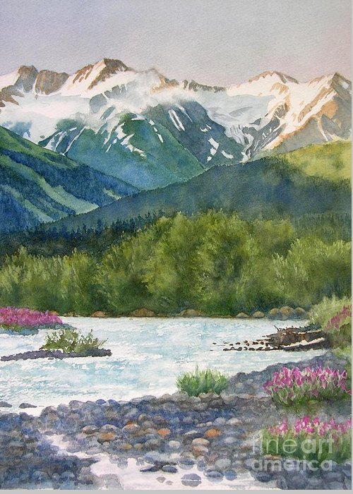 Glacier Greeting Card featuring the painting Glacier Creek Summer Evening by Sharon Freeman