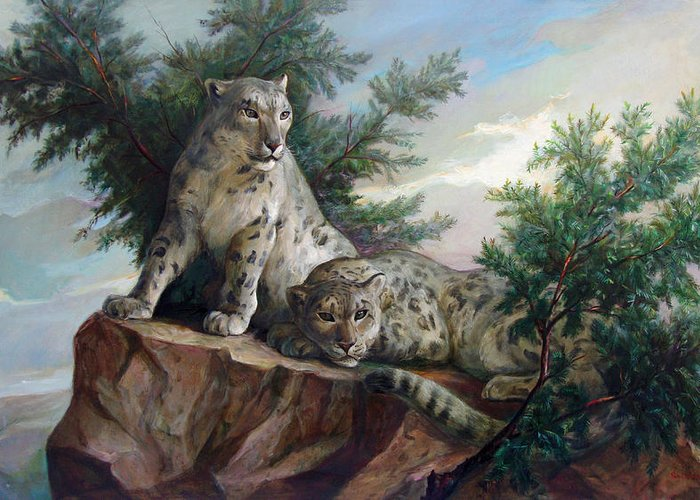 Cats Greeting Card featuring the painting Glamorous Friendship- Snow Leopards by Svitozar Nenyuk