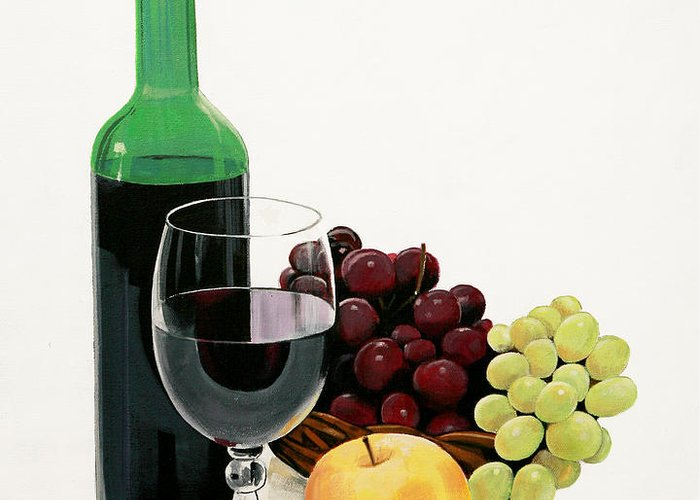 Still Life Painting Greeting Card featuring the painting Glass Half Full by Bill Dunkley