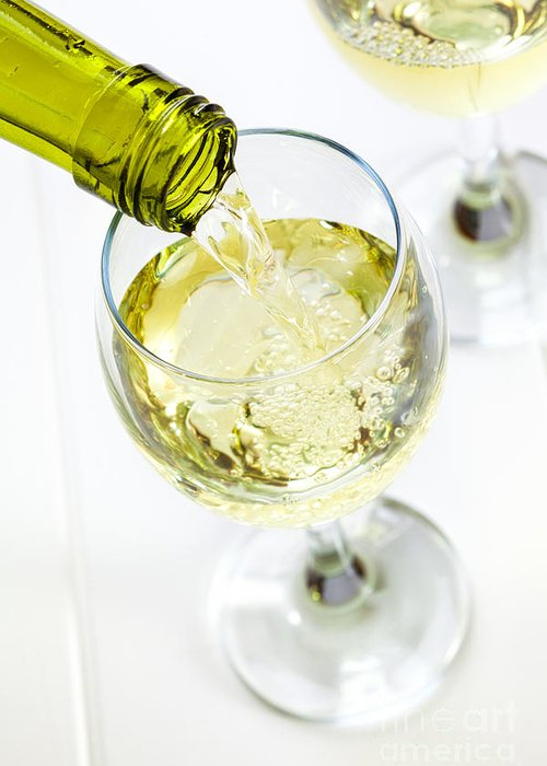 Wine Greeting Card featuring the photograph Glass Of White Wine Being Poured by Colin and Linda McKie