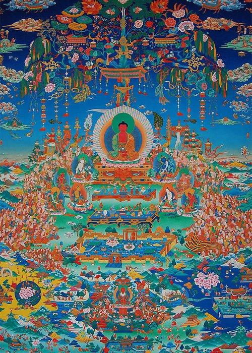 Buddha Greeting Card featuring the painting Glorious Sukhavati Realm Of Buddha Amitabha by Art School