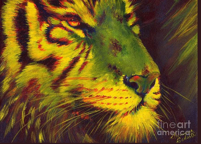 Tiger Greeting Card featuring the painting Glowing Tiger by Summer Celeste