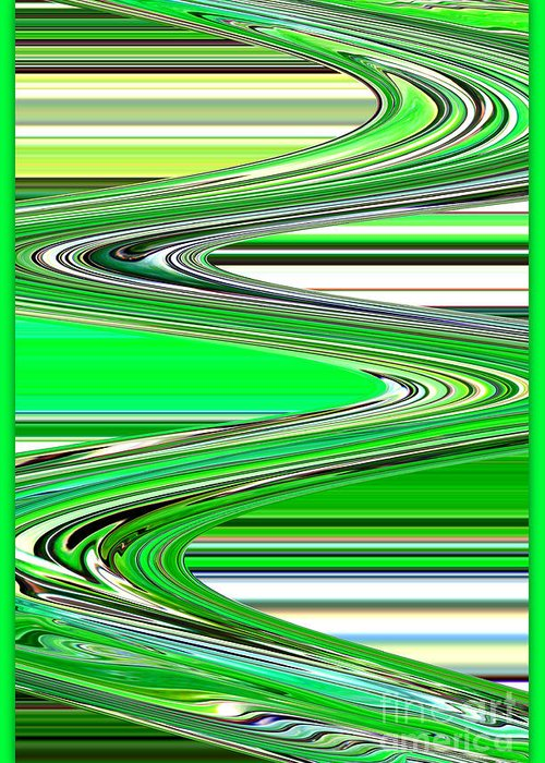 Green Abstract Greeting Card featuring the photograph Go With The Flow by Carol Groenen