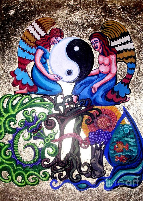 God And Gaia Greeting Card featuring the painting God And Gaia by Genevieve Esson