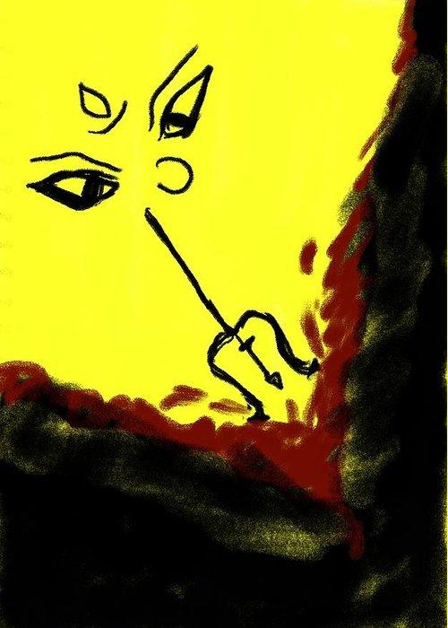 Goddess Greeting Card featuring the drawing Goddess by Raj Ritwik Mitra