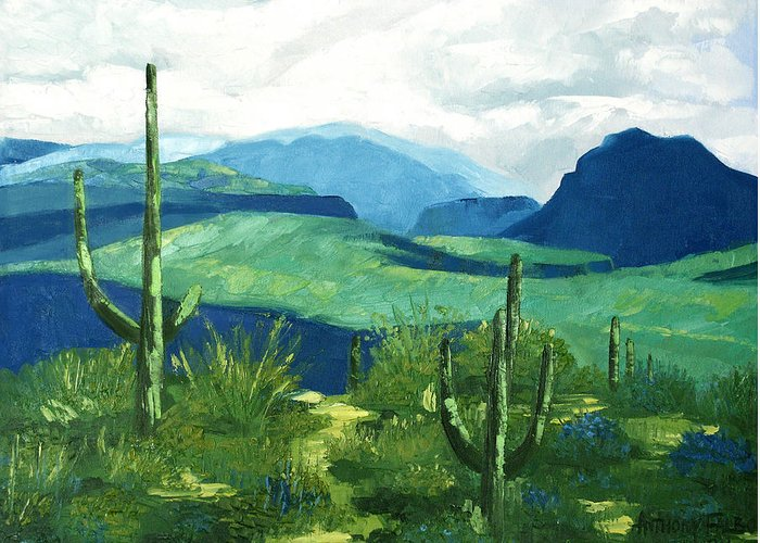 Gods Country Greeting Card featuring the painting Gods Country by Anthony Falbo