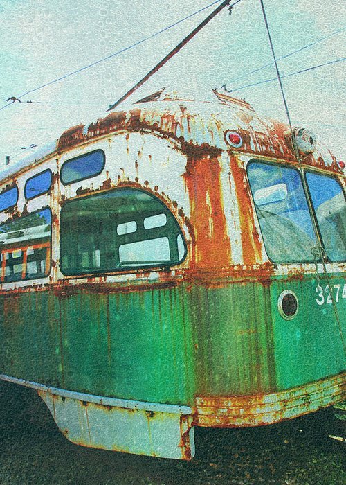 Green Trolley Greeting Card featuring the photograph Going Green by Sheryl Bergman
