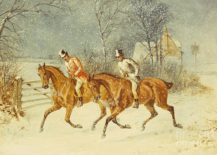 Winter Greeting Card featuring the painting Going Out In A Snowstorm by Henry Thomas Alken