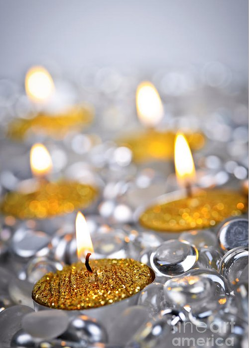 Candles Greeting Card featuring the photograph Gold Christmas Candles by Elena Elisseeva