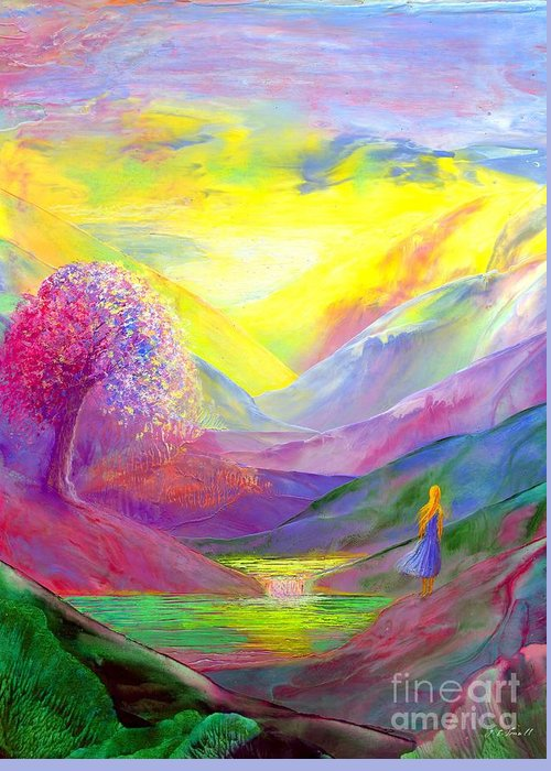 Golden Greeting Card featuring the painting Gold Horizons by Jane Small