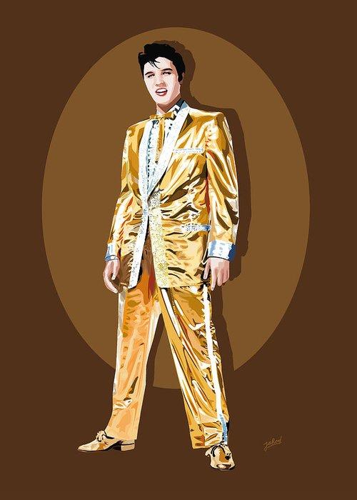Elvis Greeting Card featuring the digital art Gold Lamee Elvis by Jarod