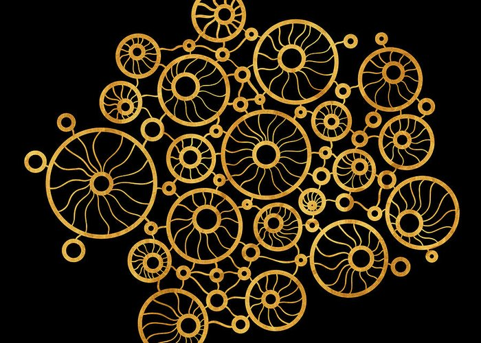Gold Greeting Card featuring the painting Golden Circles Black by Frank Tschakert