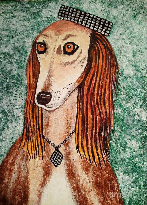Paintings Greeting Card featuring the painting Golden Dog by Jasna Gopic