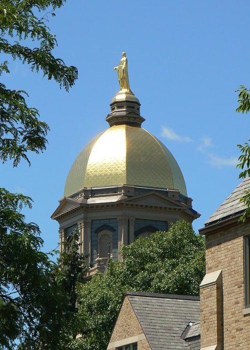 Photography Notre Dame Indiana Golden Dome Football College Greeting Card featuring the photograph Golden Dome Notre Dame by Connie Dye
