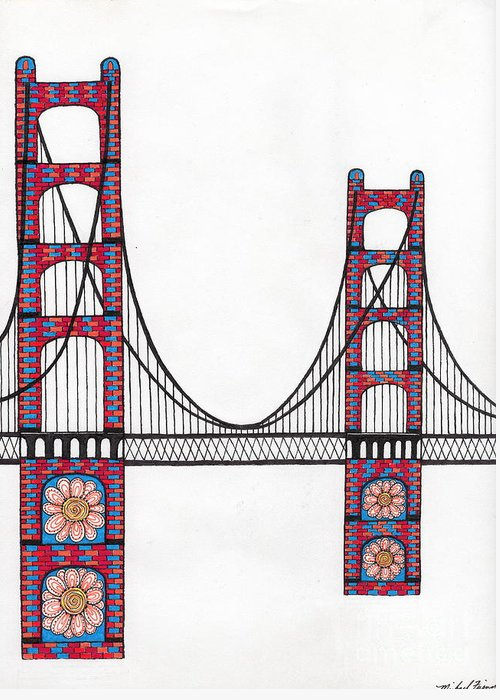 San Francisco Greeting Card featuring the drawing Golden Gate Bridge By Flower Child by Michael Friend
