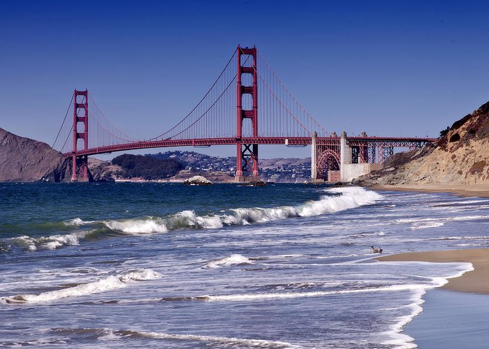 America Greeting Card featuring the photograph Golden Gate Bridge - Seen From Baker Beach by Melanie Viola