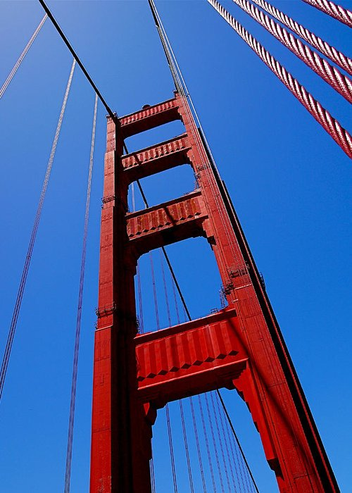 Golden Gate Bridge Greeting Card featuring the photograph Golden Gate Tower by Rona Black