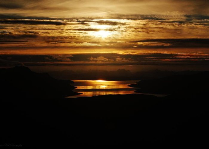 Norway Greeting Card featuring the photograph Golden Norse Fjordland Sunset by David Broome