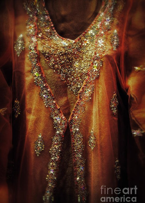 Dress Greeting Card featuring the photograph Golden Oriental Dress by Mythja Photography
