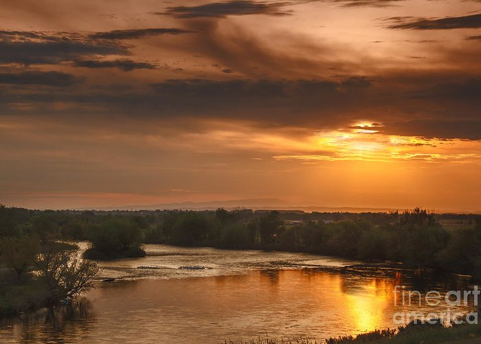 Sunset Greeting Card featuring the photograph Golden Payette River by Robert Bales
