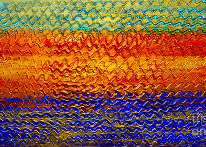 Oil Painting Greeting Card featuring the painting Golden Sunrise - Abstract Relief Painting Original Metallic Gold Textured Modern Contemporary Art by Emma Lambert