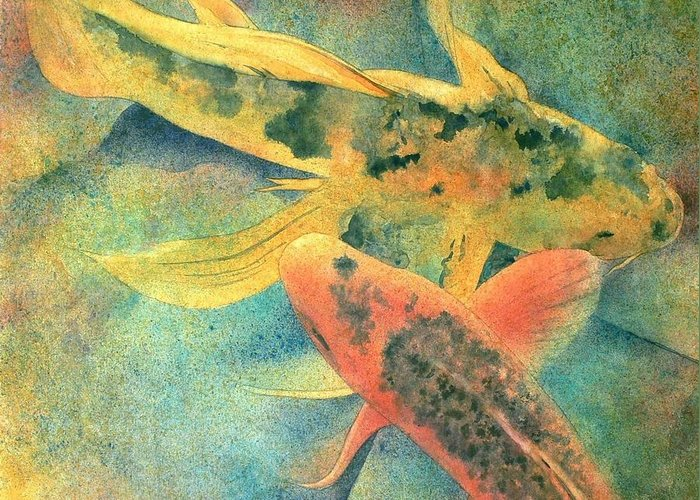 Watercolor Greeting Card featuring the painting Goldfish by Robert Hooper