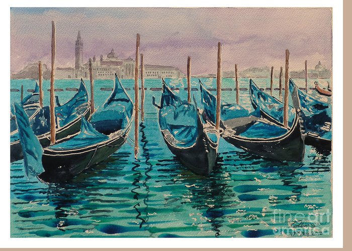 Gondolas Greeting Card featuring the painting Gondolas At The Pier Venice by Godwin Cassar