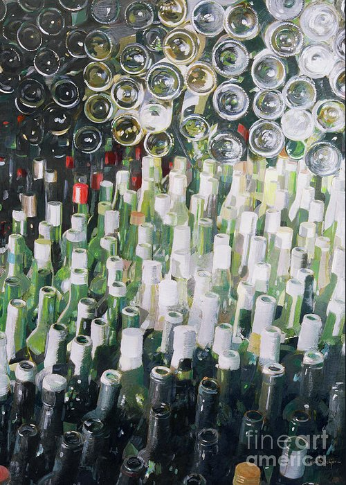 Wine Bottle; Bottles; Cellar; Glass; Store; Wine Greeting Card featuring the painting Good Life by Lincoln Seligman