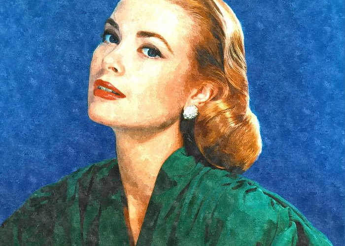 Grace Greeting Card featuring the painting Grace Kelly Painting by Gianfranco Weiss