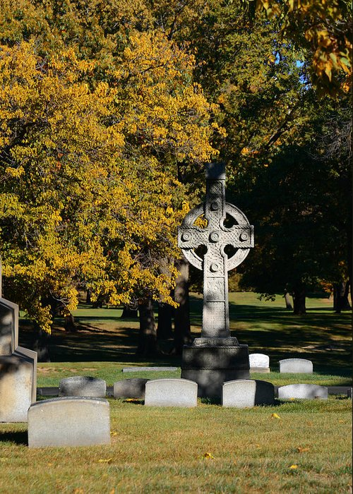 Graveyard Greeting Card featuring the photograph Graceland Cemetery Chicago - Tomb Of John W Root by Christine Till