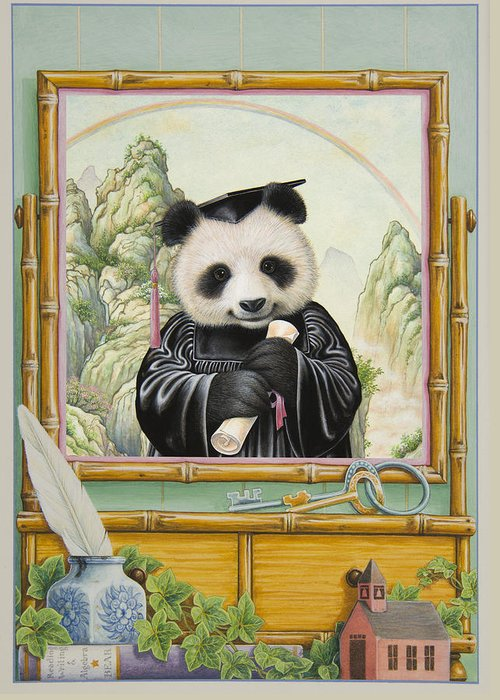 Panda Bear Greeting Card featuring the painting Graduation Day by Lynn Bywaters