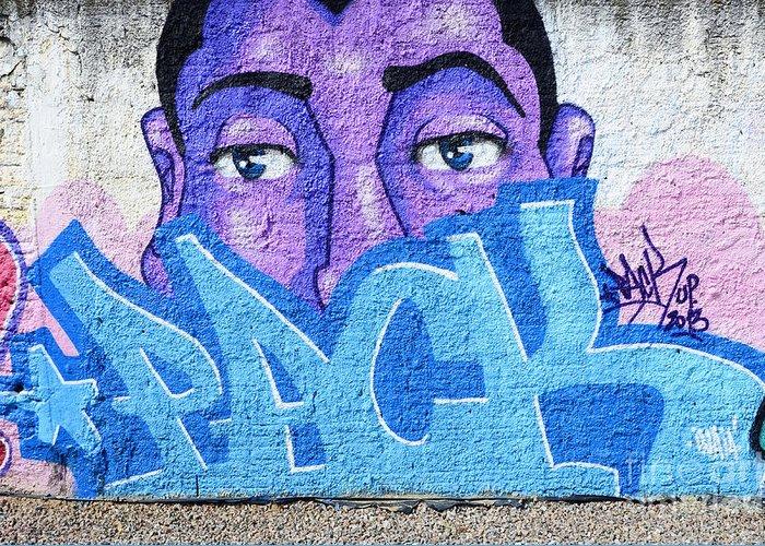 Graffiti Greeting Card featuring the photograph Graffiti Art Santa Catarina Island Brazil by Bob Christopher