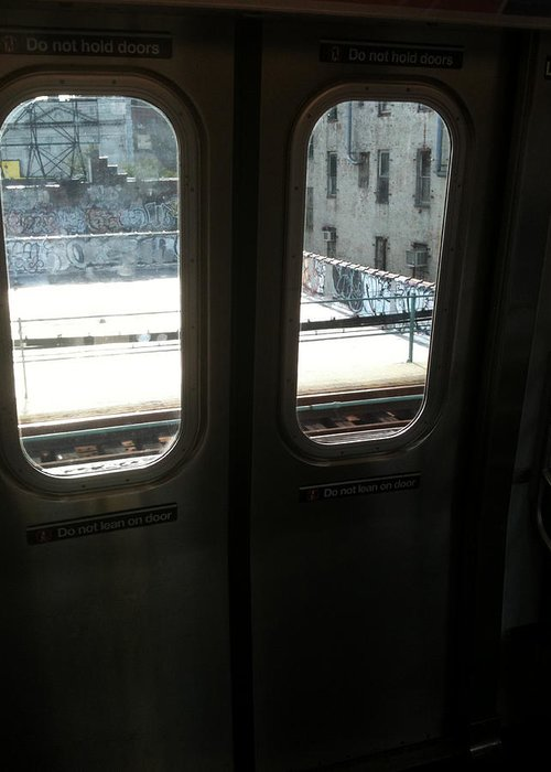 Mieczyslaw Greeting Card featuring the photograph Graffiti From Subway Train by Mieczyslaw Rudek