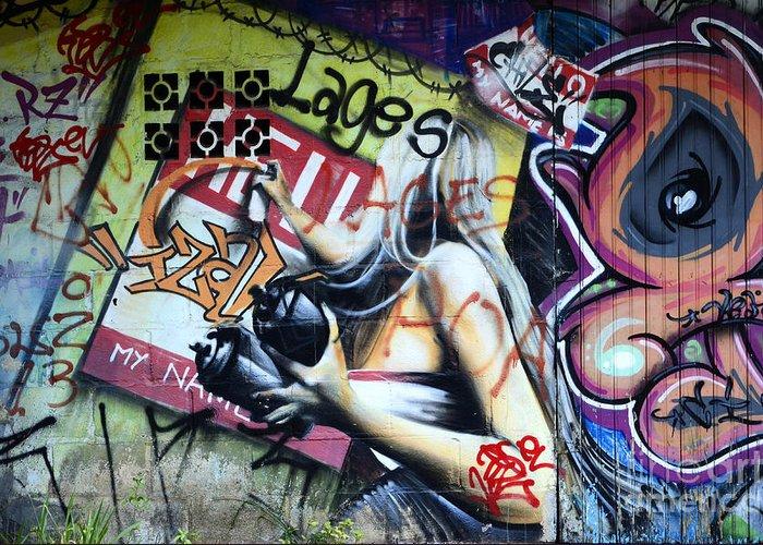 Graffiti Greeting Card featuring the photograph Grafitti Art Florianopolis Brazil 1 by Bob Christopher