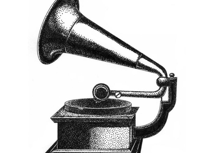 Gramophone Greeting Card featuring the drawing Gramophone by Christy Beckwith