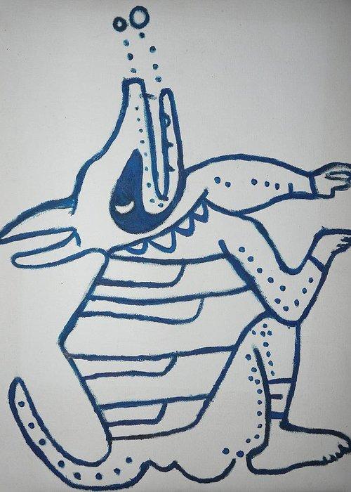Mayan Dog Greeting Card featuring the painting Gran Jaguar V by Juan Francisco Zeledon