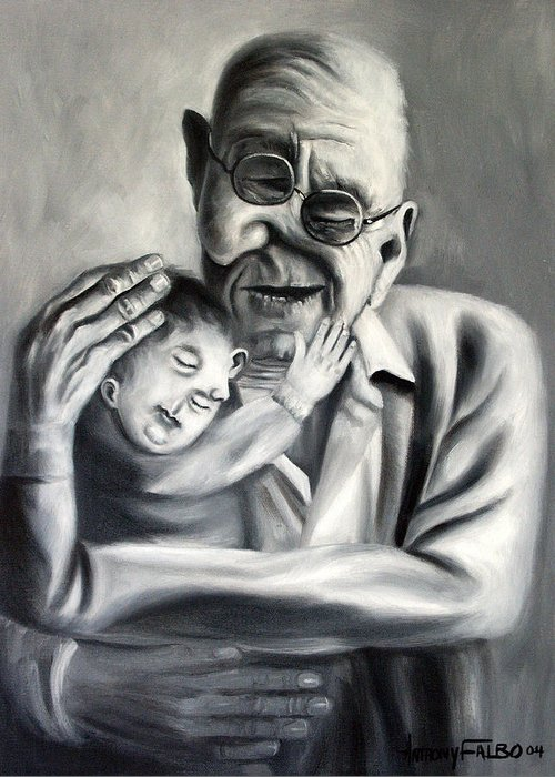Grandpa Framed Prints Greeting Card featuring the painting Grandpa by Anthony Falbo